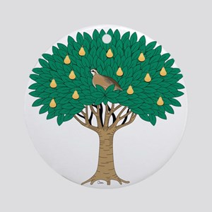 Partridge in Pear Tree Round Ornament
