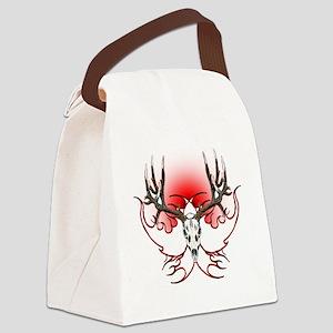 Mule deer,skull flames Canvas Lunch Bag