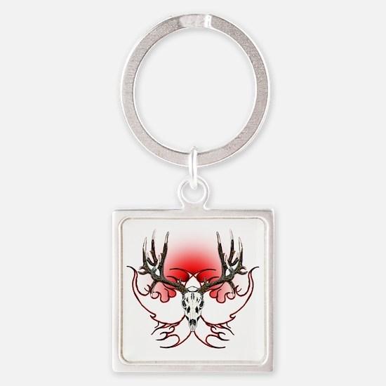 Mule deer,skull flames Square Keychain