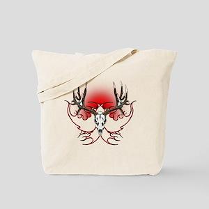 Mule deer,skull flames Tote Bag