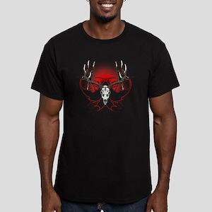 Mule deer,skull flames Men's Fitted T-Shirt (dark)