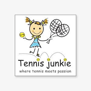 "tennis_junkie2 Square Sticker 3"" x 3"""