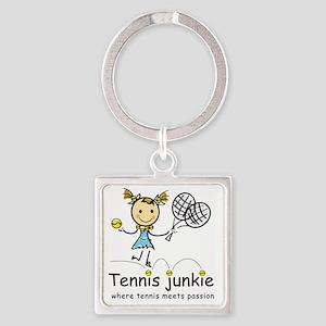 tennis_junkie2 Square Keychain