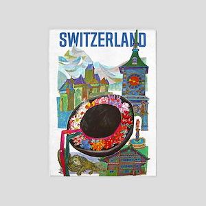 Vintage Switzerland Travel 5'x7'Area Rug