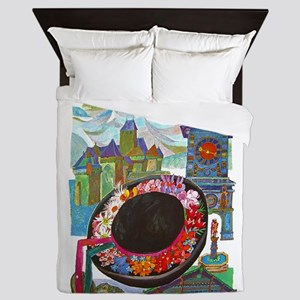 Vintage Switzerland Travel Queen Duvet