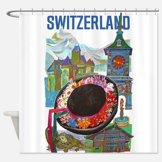 Vintage Switzerland Travel Shower Curtain