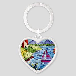 colorful art cal  Heart Keychain