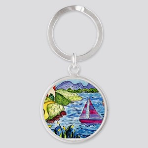 colorful art cal  Round Keychain