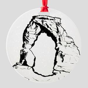 DelicateArchUtahForBlack Round Ornament