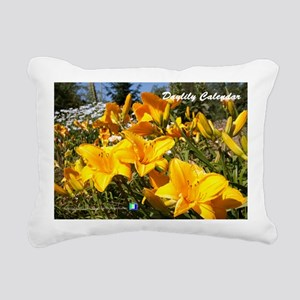 Daylily Sparkling Orange Rectangular Canvas Pillow