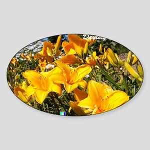 Daylily Sparkling Orange Sticker (Oval)