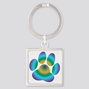 Rainbow Friendly Paw Square Keychain
