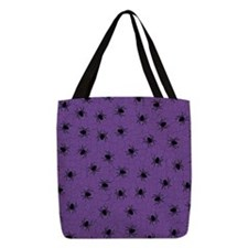 Purple Spider Pattern Polyester Tote Bag