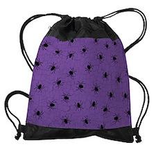 Purple Spider Pattern Drawstring Bag