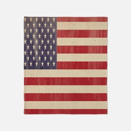 Vintage American Flag 2 Throw Blanket