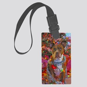 pitbull christmas card Large Luggage Tag