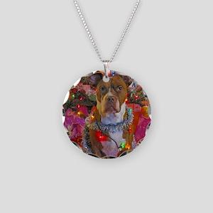 pitbull christmas card Necklace Circle Charm