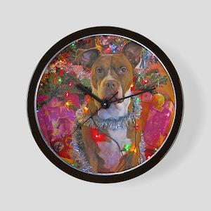 pitbull christmas card Wall Clock