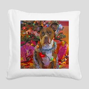 pitbull christmas card Square Canvas Pillow
