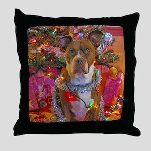 pitbull christmas card Throw Pillow