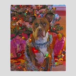 pitbull christmas card Throw Blanket