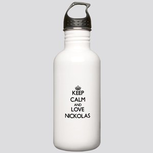 Keep Calm and Love Nickolas Water Bottle