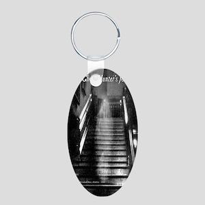 PIJournalBrwn Aluminum Oval Keychain