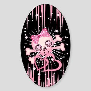 Pink Neon Skull IP3 Sticker (Oval)