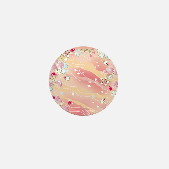 Japanese pink cherry blossoms Mini Button