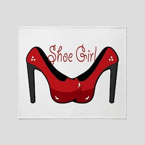 Shoe Girl Throw Blanket