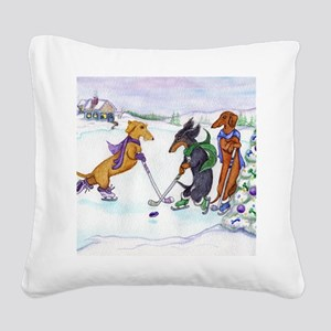 hockeyblanket Square Canvas Pillow