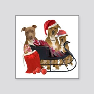 """3 Pitbull with Sleigh Square Sticker 3"""" x 3"""""""