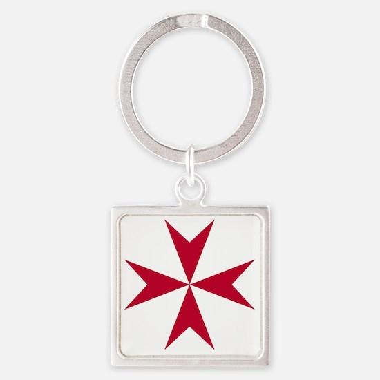 Cross of Malta - Red Square Keychain