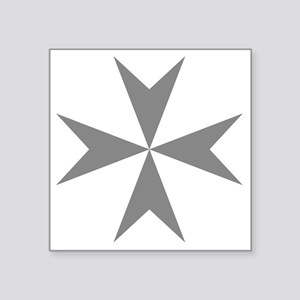 "Cross of Malta - Grey Square Sticker 3"" x 3"""