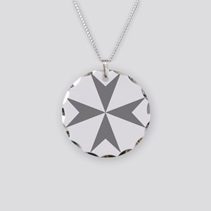 Cross of Malta - Grey Necklace Circle Charm