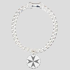 Cross of Malta - Grey Charm Bracelet, One Charm