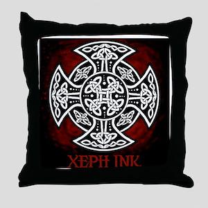 red sheild shirt Throw Pillow
