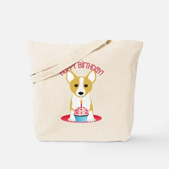 Happy Birthday Corgi Tote Bag
