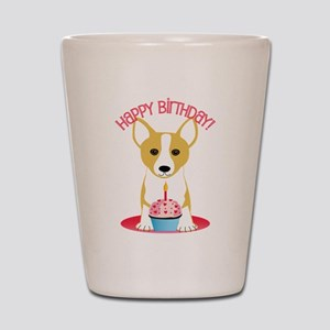 Happy Birthday Corgi Shot Glass