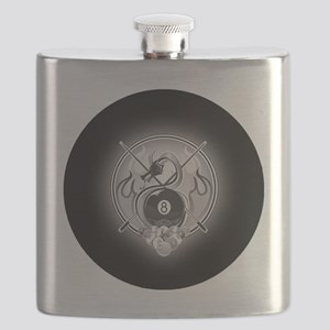 8-ball dragon Large round button Flask