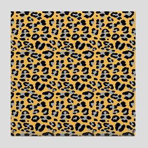 Orange Leopard Print Tile Coaster