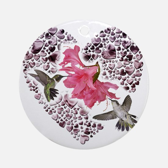 Himmingbirs on heart Round Ornament
