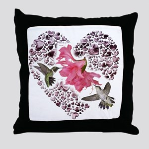 Himmingbirs on heart Throw Pillow