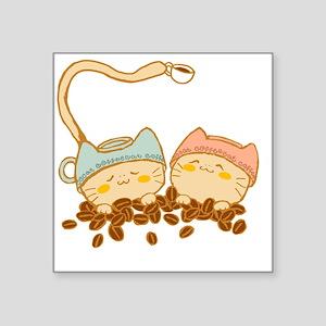 "coffee cat2 Square Sticker 3"" x 3"""