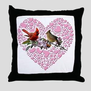 cardinals on heart Throw Pillow