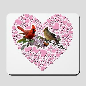cardinals on heart Mousepad