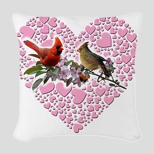 cardinals on heart Woven Throw Pillow