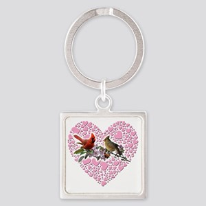 cardinals on heart Square Keychain