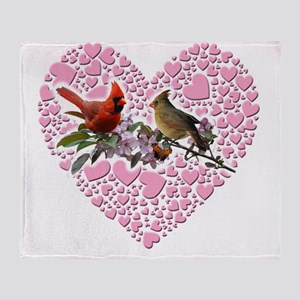 cardinals on heart Throw Blanket