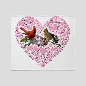 cardinals on heart Throw Blanket